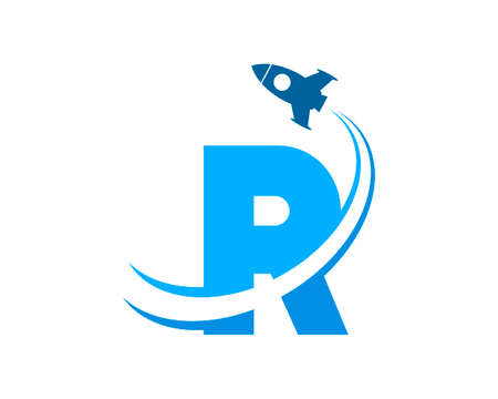 Flying rocket with R letter initial