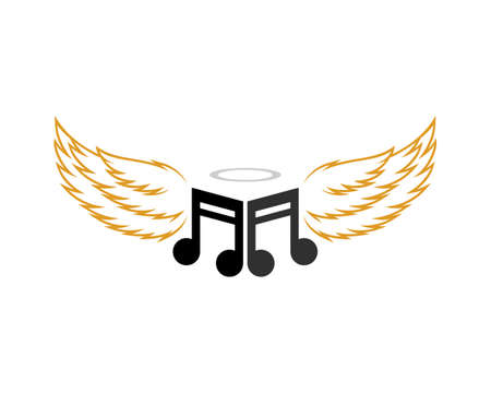 Music note with wings angel