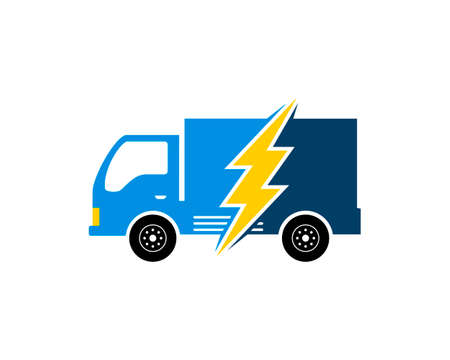 Delivery truck with lightning inside Vector Illustration