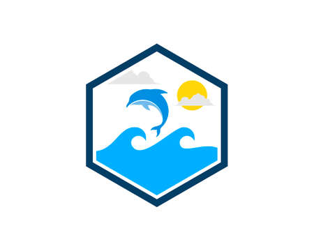 Hexagonal shape with beach wave and jumping dolphin