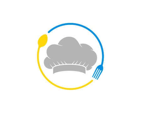 Circular spoon and fork with chef hat inside