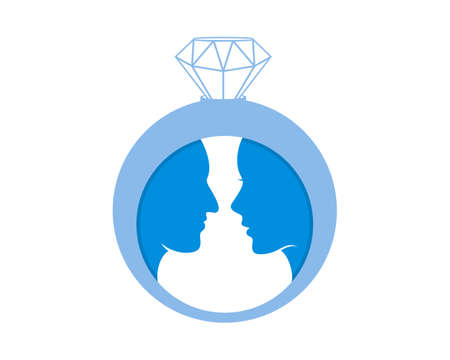 Wedding diamond ring with lovers inside