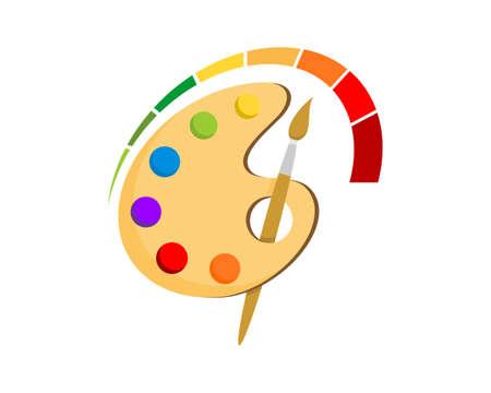 Color palette with speedometer surrounding Stock Illustratie