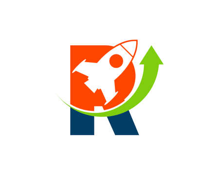 Flying rocket and arrow up with R letter initial