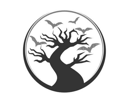 Halloween tree with flying bats inside the circle