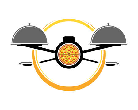 Flying drone pizza with food plate Illustration