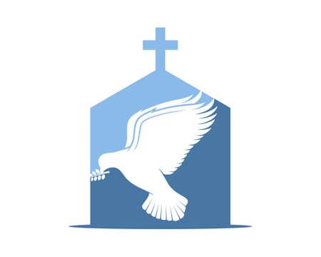 Flying dove inside the church