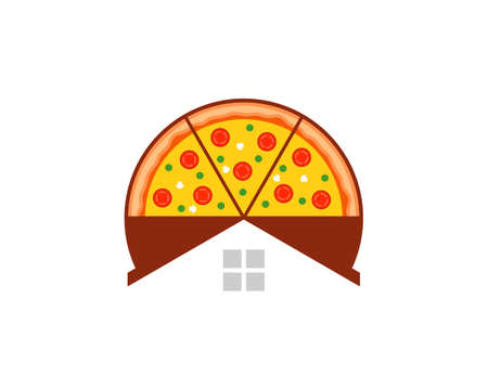Delicious pizza with simple house