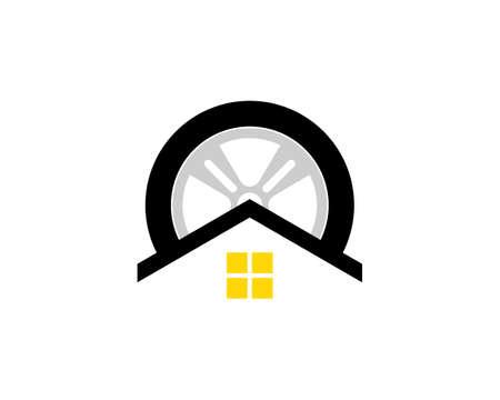 Simple house with car wheel Ilustração