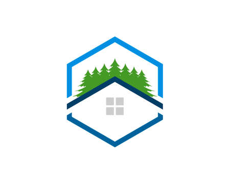 Hexagonal shape with simple house and pine tree