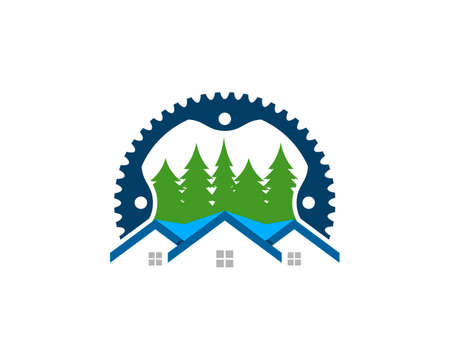 Bike gear with modern house and pine tree 矢量图像