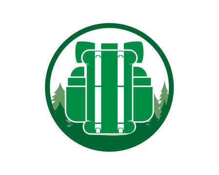 Hiking backpack in the forest logo Çizim