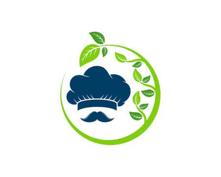 Circular nature leaf with chef hat and mustache