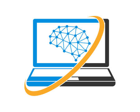 Brain tech with laptop logo Иллюстрация
