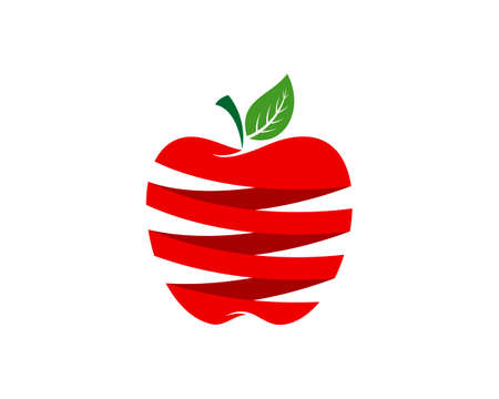 Red apple with stripes style