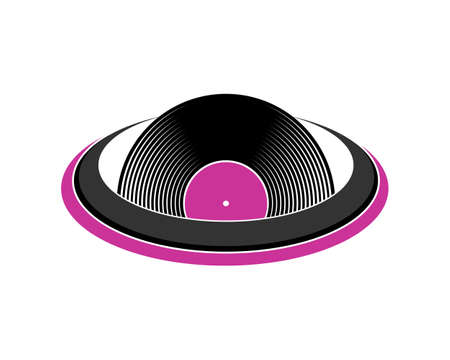 Vinyl recorder inside the circle logo