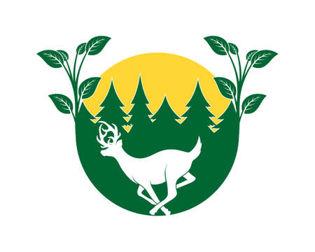 Running deer in the green forest logo