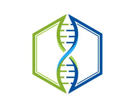 DNA Helix forming a hexagon shape Ilustração
