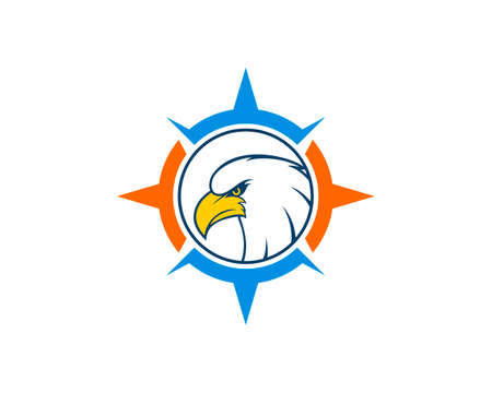 Blue and orange compass with eagle head inside