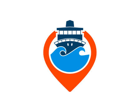 Pin location with sea wave and ship