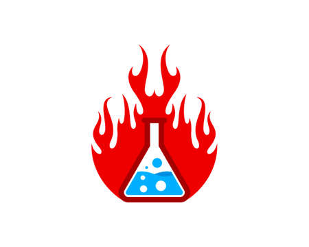 Fire flames with bottle laboratory inside