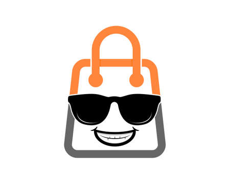 Smiling cool character with shopping bag shape logo