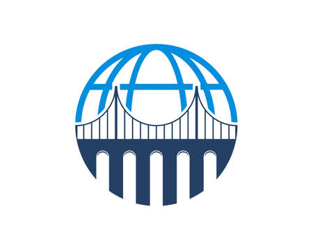 Combination blue bridge with globe logo