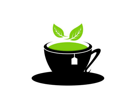 Black cup with green tea and nature leaf