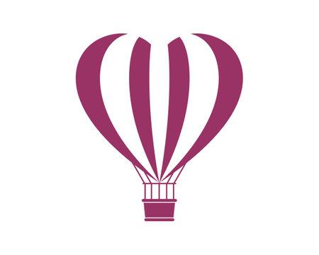Air balloon with love shape logo
