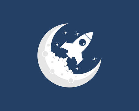 Rocket launch on the moon logo