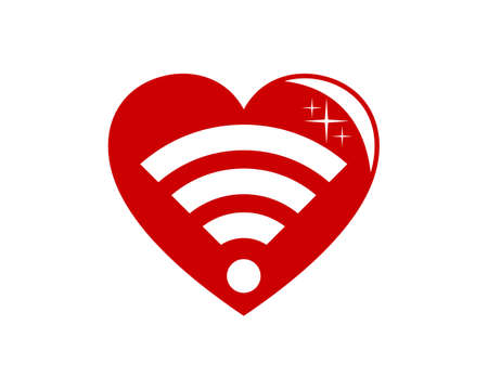 Love with internet connection symbol inside 일러스트