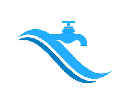 Water plumbing with blue wave Illustration