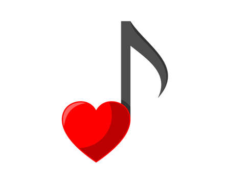 Music note with love logo  イラスト・ベクター素材