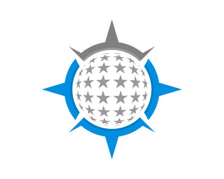 Stars inside the compass logo 向量圖像