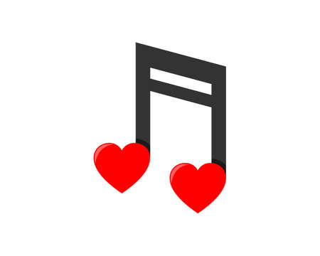 Combination music note with love logo  イラスト・ベクター素材