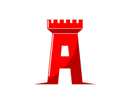 A Letter with fortress shape logo