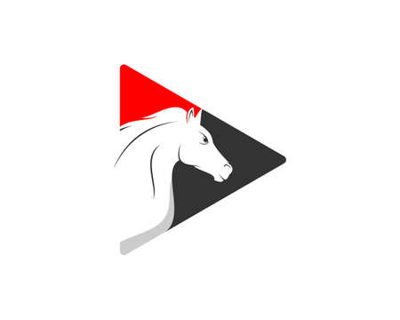Media play button with horse head inside