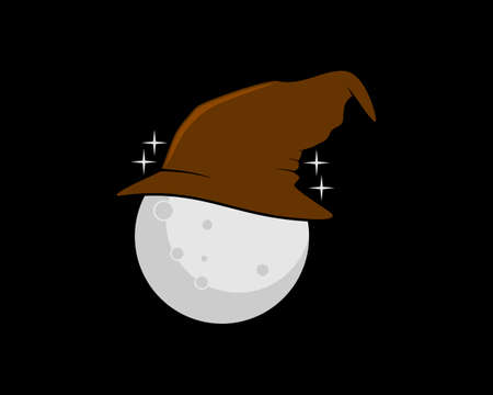 Moon with witch hat vector