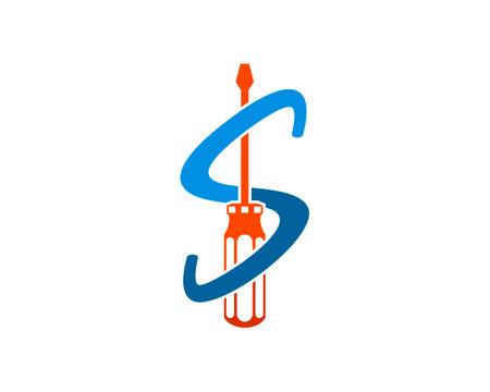 Repair screwdriver with S letter initial