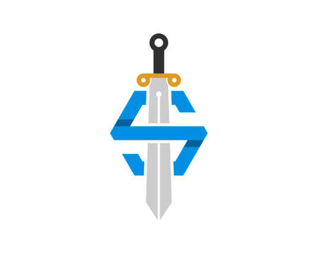 Simple knight sword with S letter initial