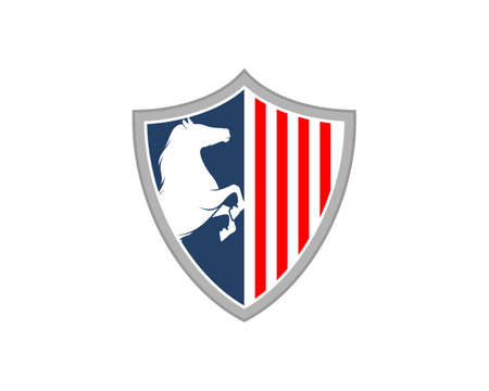 Standing horse in the american shield logo 矢量图像