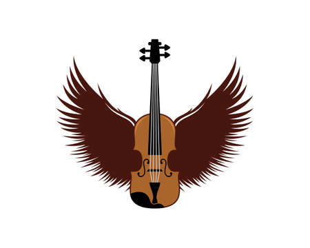 Musical violin with spread wings