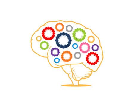 Gear inside the brain logo