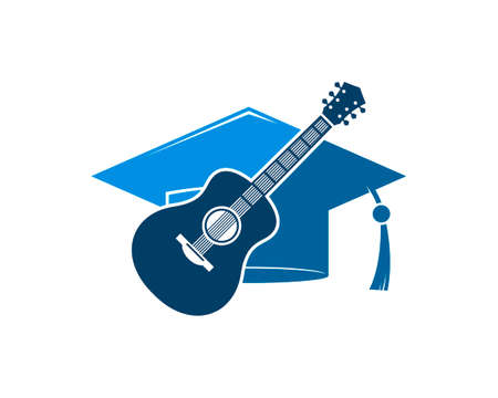 Graduation hat with music guitar inside