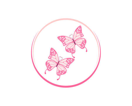 Two flying butterfly in the circle logo