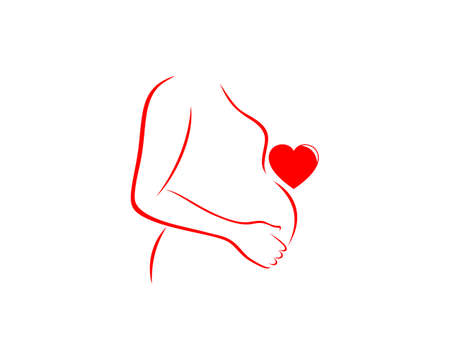 Pregnant mom with red love logo