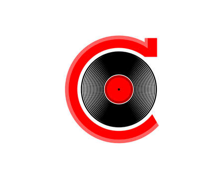 C Letter with vinyl music record logo