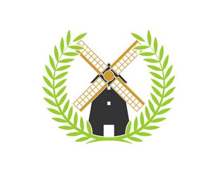 Windmill inside the circular wheat Ilustração Vetorial