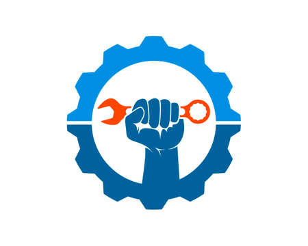 Mechanical gear with hand and wrench inside