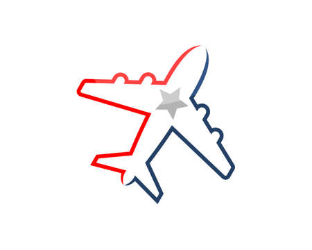Flying airplane with outline and star inside